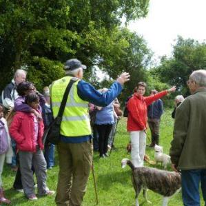 Volunteer John giving a guided walk at Heartwood
